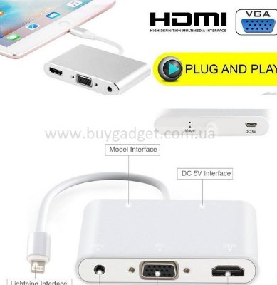 Адаптер Lightning to HDMI / VGA / Audio