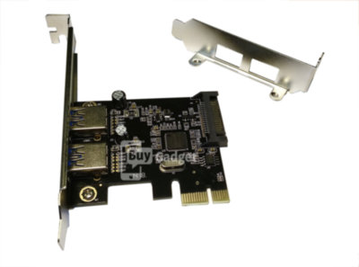 Адаптер PCI-E to USB3.0 (2ext. Sata power) Low Profil, ASM1042, RTL