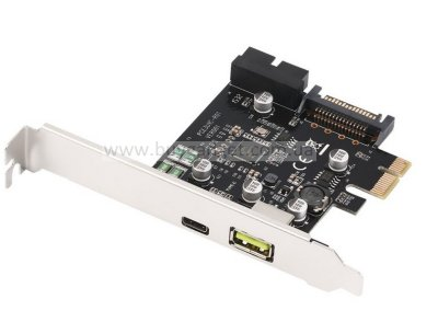 Адаптер PCI-E to USB3.1 Type-C, Rapid Charging Port 2.4A, 19pin USB header, Sata Power